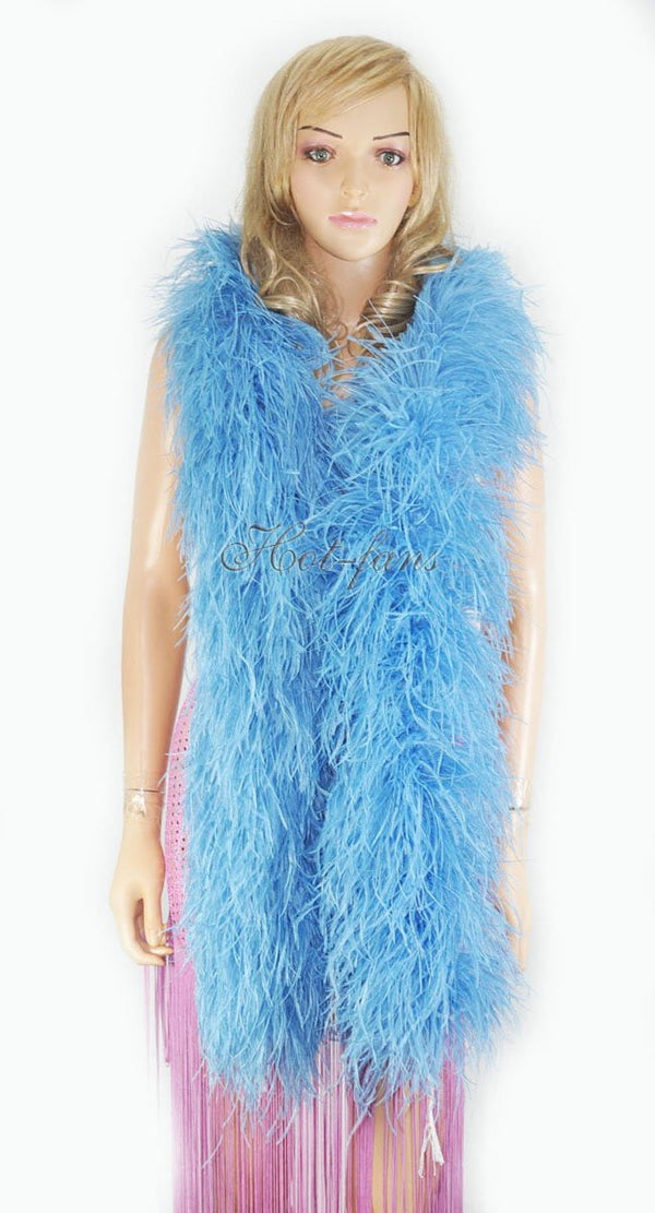 12 ply sky blue Luxury Ostrich Feather Boa 71