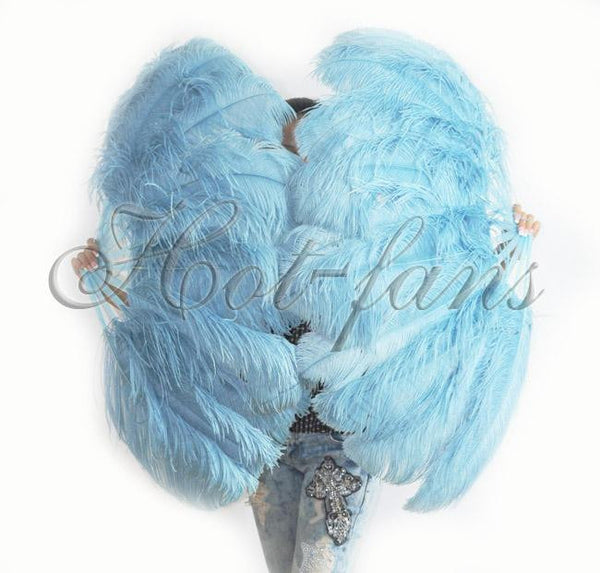 "A pair Sky blue Single layer Ostrich Feather fan 24""x 41"" with leather travel Bag - hotfans"