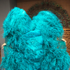 "Teal Double side ostrich Feather Fan with Peacock Feathers opened 180 degree 25""x 60"" - hotfans"
