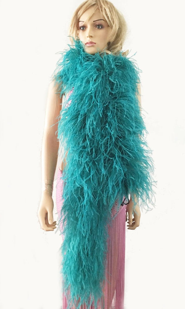 12 ply teal Luxury Ostrich Feather Boa 71
