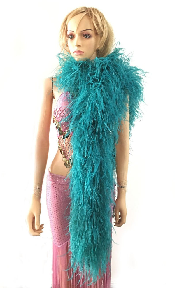 "12 ply teal Luxury Ostrich Feather Boa 71""long (180 cm) - hotfans"