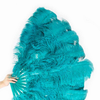 "Teal 3 Layers Ostrich Feather Fan Opened 65"" with Travel leather Bag - hotfans"