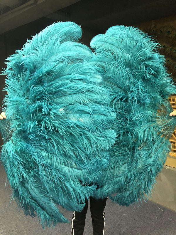 XL 2 Layers Teal Ostrich Feather Fan 34''x 60'' with Travel leather Bag - hotfans