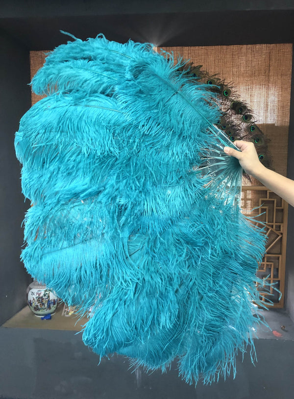 2 layers teal Ostrich Feather Fan 30