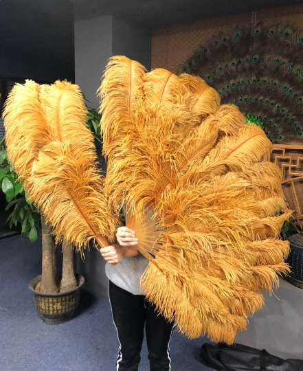 XL 2 Layers topaz Ostrich Feather Fan 34''x 60'' with Travel leather Bag - hotfans