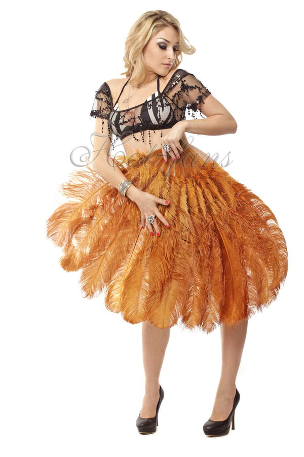 2 layers topaz Ostrich Feather Fan 30