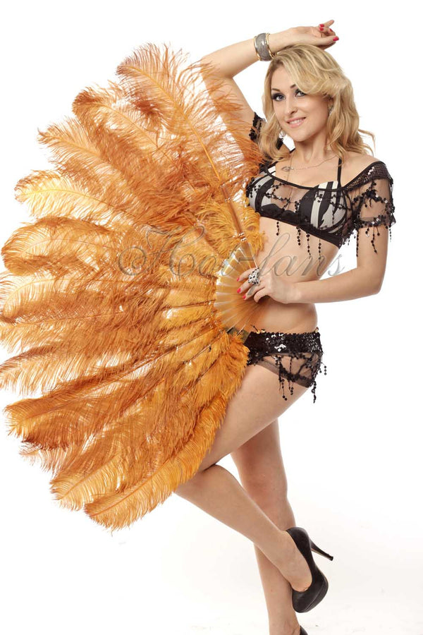 "2 layers topaz Ostrich Feather Fan 30""x 54"" with leather travel Bag - hotfans"