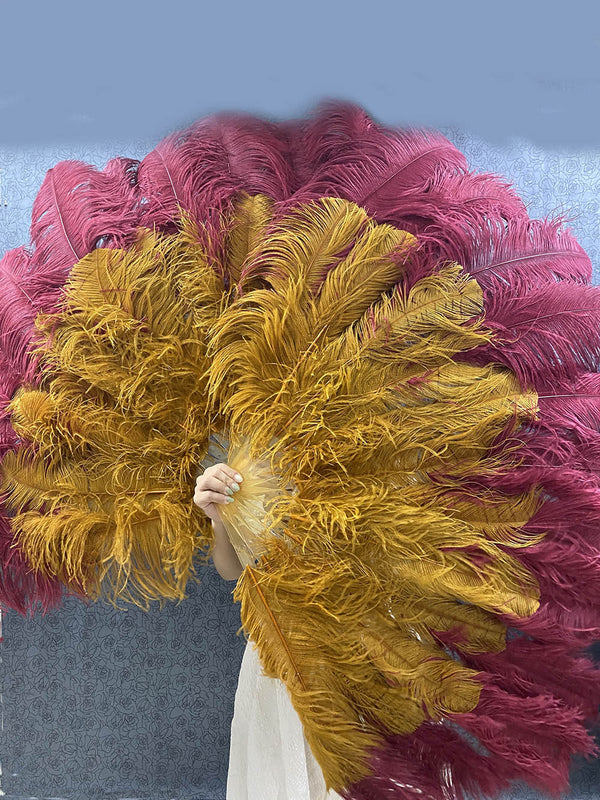 Mix Burgundy & topaz XL 2 Layer Ostrich Feather Fan 34''x 60 '' with Travel leather Bag   hotfans.
