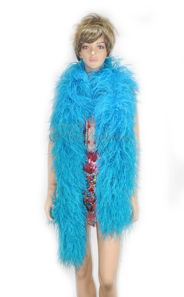 12 ply turquoise Luxury Ostrich Feather Boa 71