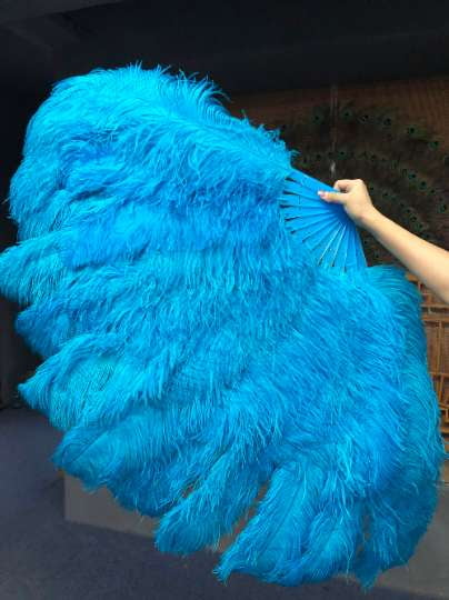 XL 2 Layers turquoise Ostrich Feather Fan 34''x 60'' with Travel leather Bag - hotfans