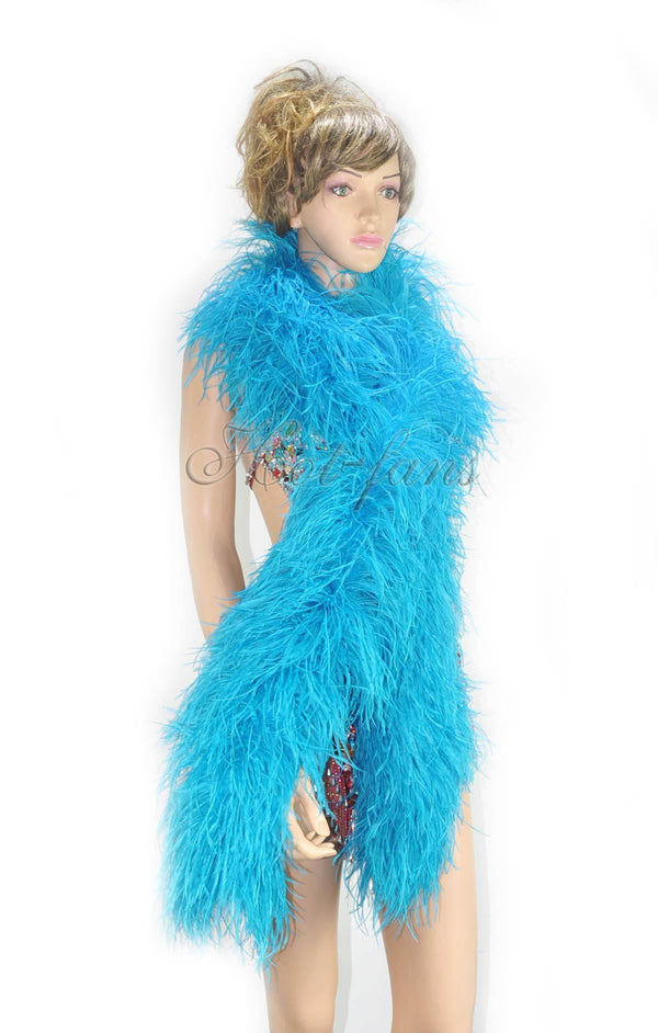 "12 ply turquoise Luxury Ostrich Feather Boa 71""long (180 cm) - hotfans"