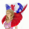 mix color USA flag sequins  ostrich feather shoulder Backpack - hotfans