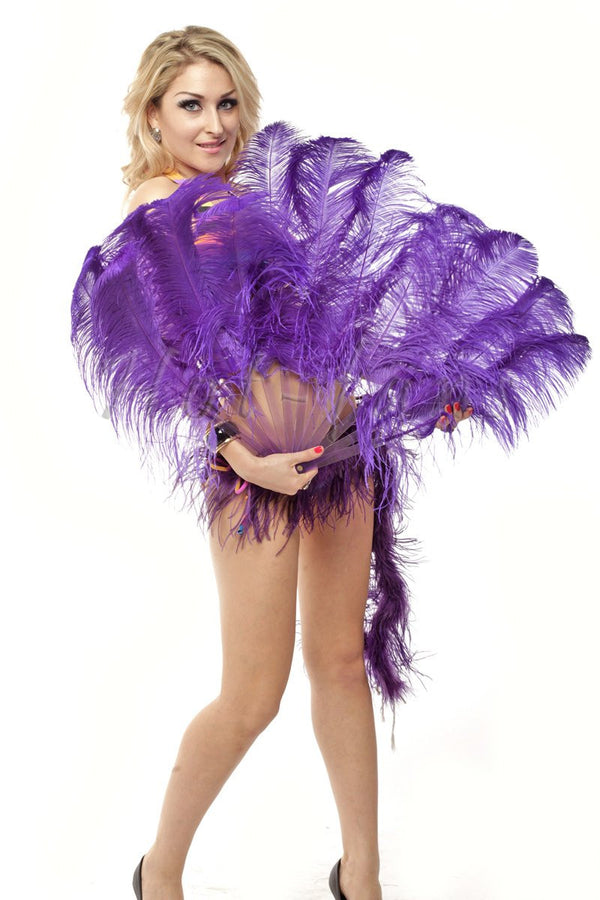 "A pair violet Single layer Ostrich Feather fan 24""x 41"" with leather travel Bag - hotfans"