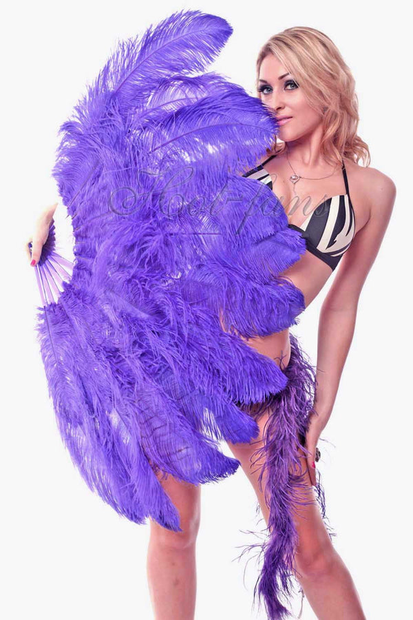 "2 layers violet Ostrich Feather Fan 30""x 54"" with leather travel Bag - hotfans"