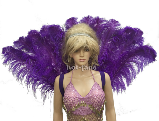 violet Open Majestic Style Ostrich peacock Feather backpiece - hotfans