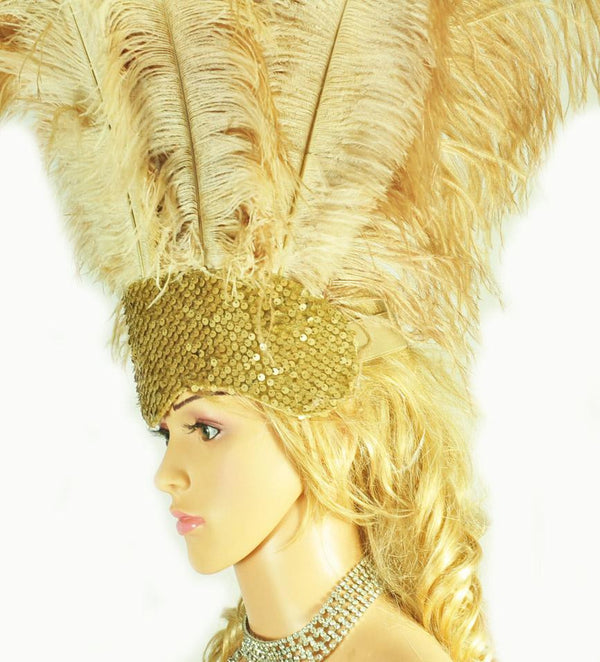 Wheat Showgirl Open Face Ostrich feather Headdress - hotfans