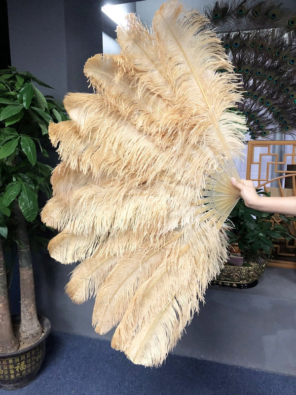 2 layers wheat Ostrich Feather Fan 30