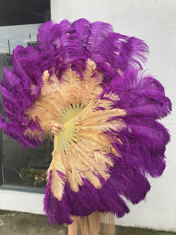 Mix dark purple & wheat 2 Layers Ostrich Feather Fan 30''x 54'' with Travel leather Bag - hotfans
