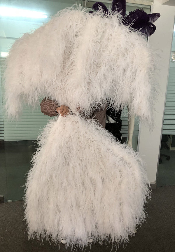 Burlesque Fluffy white Waterfall Fan Ostrich Feathers Boa Fan 42