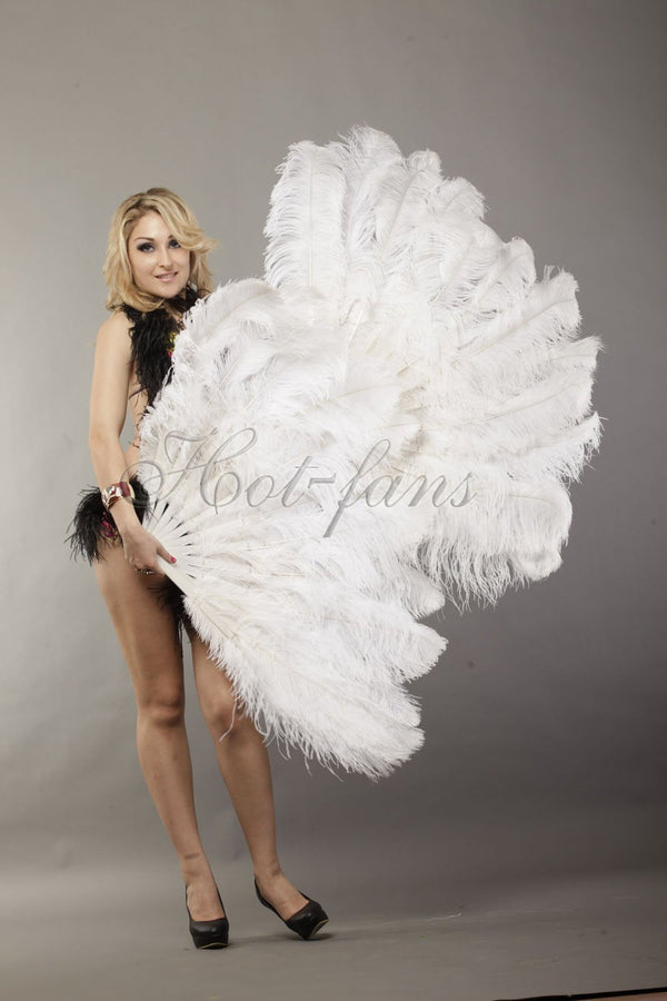 2 layers white Ostrich Feather Fan 30