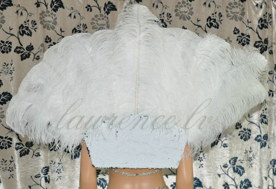 hvid Open Majestic Style Ostrich Feather backpiece - hotfans