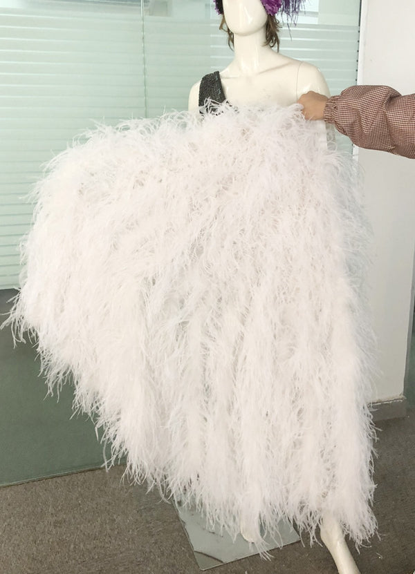 "Burlesque Fluffy white Waterfall Fan Ostrich Feathers Boa Fan 42""x 78"" - hotfans"