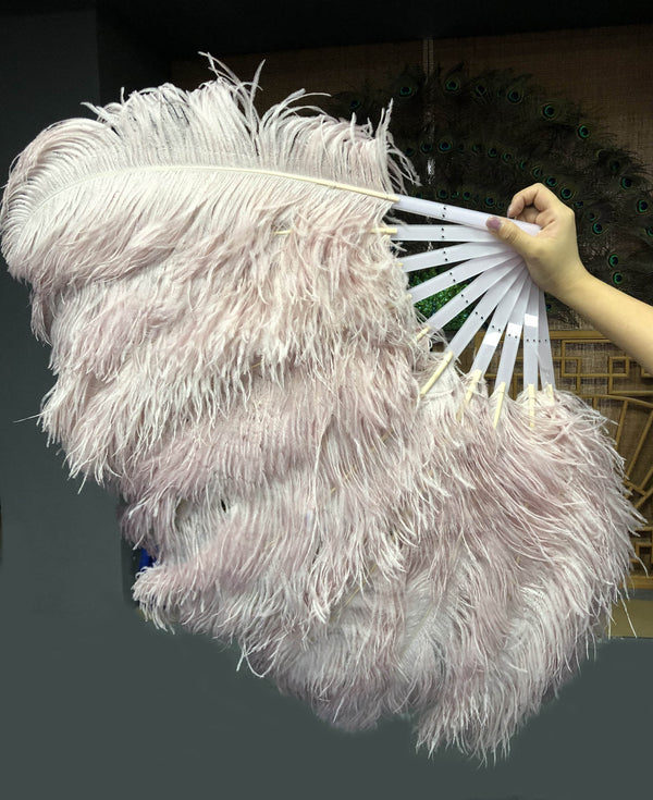 A pair beige wood Single layer Ostrich Feather fan 24