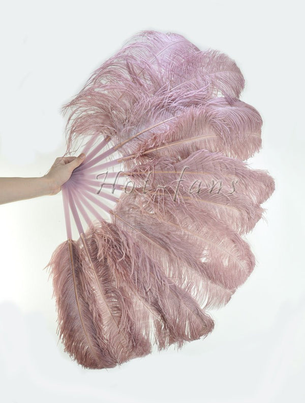 "beige wood single layer Ostrich Feather Fan with leather travel Bag 25""x 45"" - hotfans"
