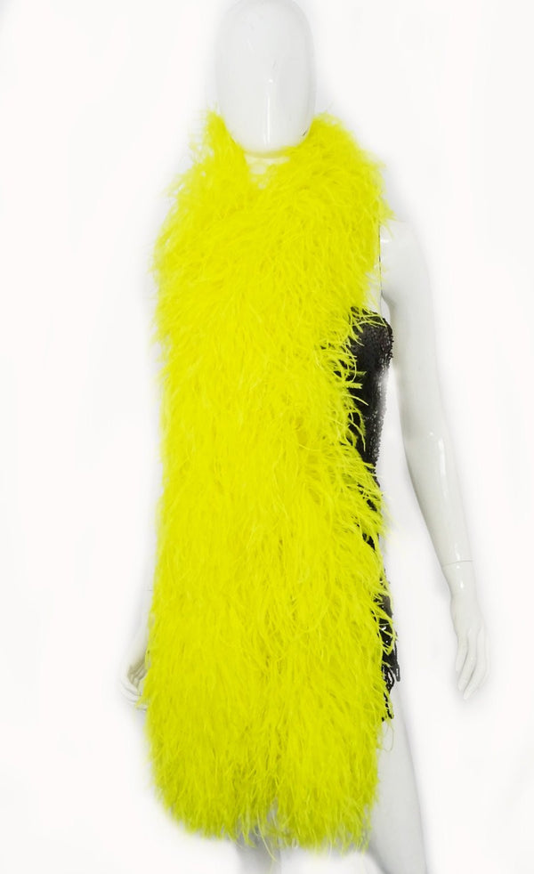 "20 ply yellow Luxury Ostrich Feather Boa 71""long (180 cm) - hotfans"