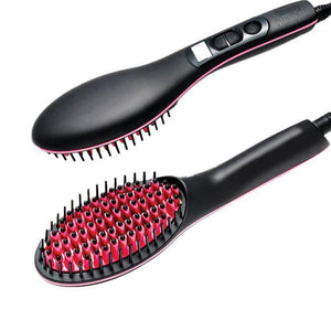 Electric Hair Straightener Brush with LCD Display - CoolCatGadget