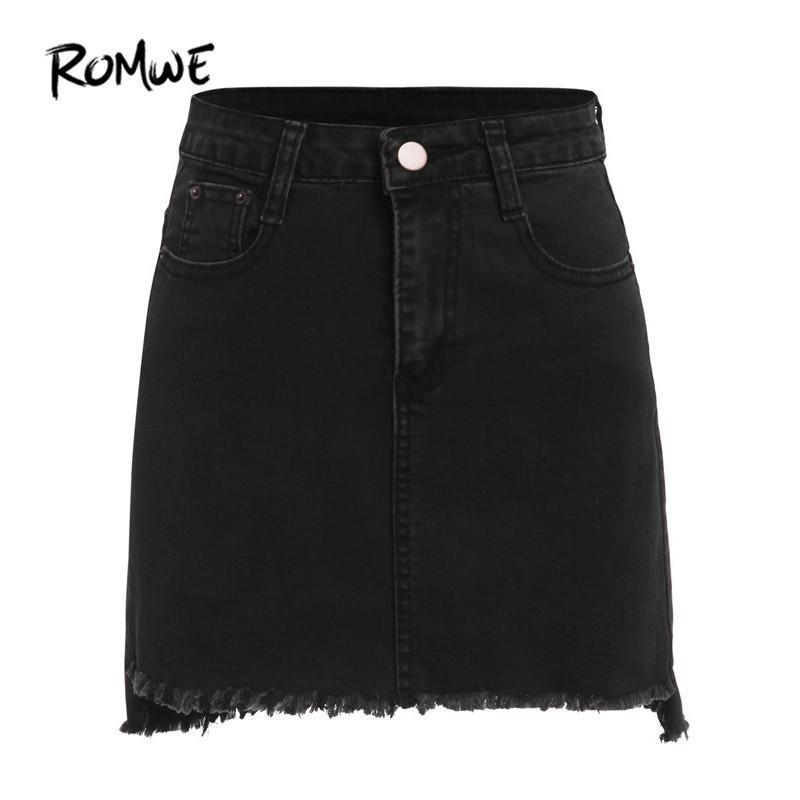 Sex Doll - Denim Mini Skirt - Plain Black With Pockets Above Knee - Product Image