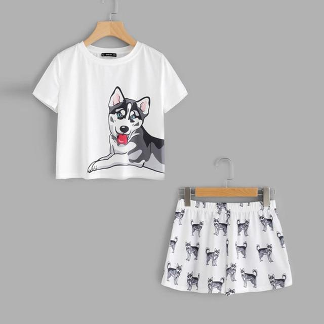 Sex Doll - Dog Print Tee & Shorts Pajama Set - Product Image