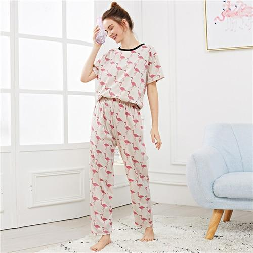 Sex Doll - Flamingo Print Casual Nightwear Short Sleeve - Product Image