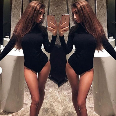 Sex Doll - Solid Turtleneck Slim Fit Long Sleeve Sexy Romper - Product Image