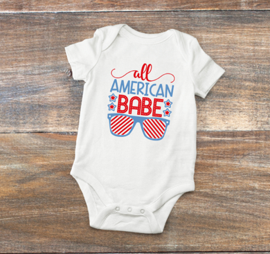 Red White and Blue all american babe onsie with sunglasses
