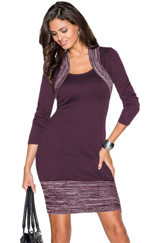 47752794230 Feminine Knit Dress with Contrasting Color