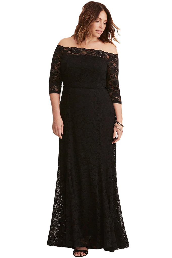 715488cb7c60 Plus Size Lace Off Shoulder Party Maxi Dress – B-Fine Clothing