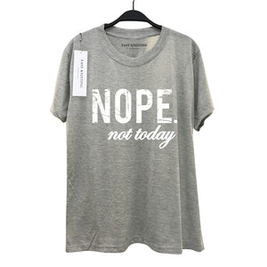 Plus Size Women Nope Not Today Letter Printed Casual Funny Shirt Short Sleeve T-shirt Tops - Classic Custom Tshirt