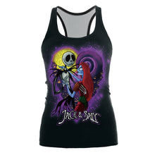 Load image into Gallery viewer, Womens Printed Halloween Sleeveless Tshirt The Nightmare Before Christmas Cos Shirt Jack And Sally Slim Design Fashion Tops