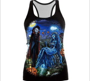Womens Printed Halloween Sleeveless Tshirt The Nightmare Before Christmas Cos Shirt Jack And Sally Slim Design Fashion Tops