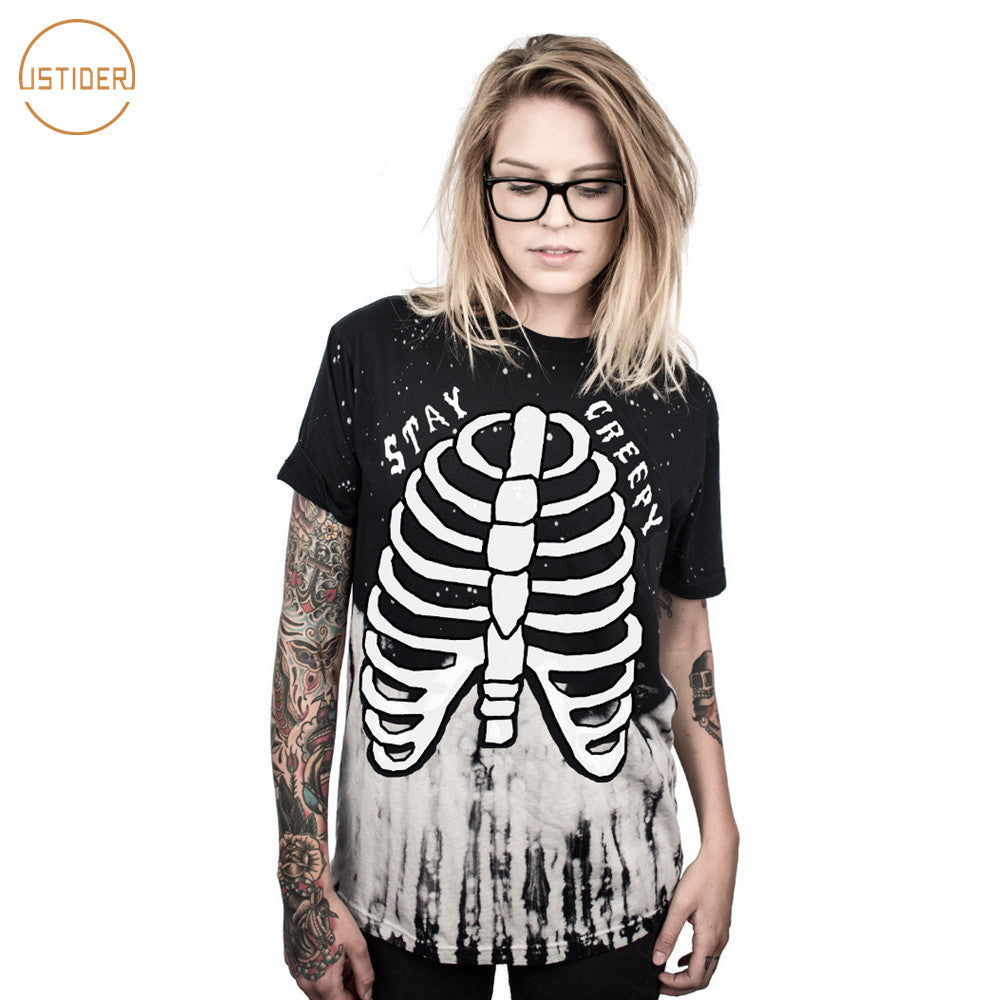 ISTider 2017 New Halloween Party Shirt STAY CREEPY Skeleton T Shirt Women Men Hip Hop Streetwear Plus Size Loose T-Shirt femme