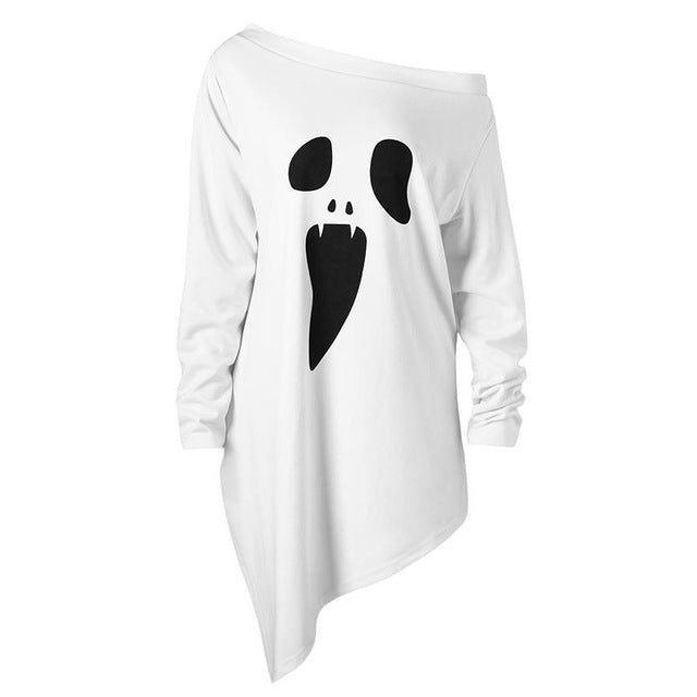 Size XL-5XL Halloween T Shirt Women Long Sleeve Tops Autumn Pullover Casual T-Shirt Large Loose Camisetas Mujer WS3470C