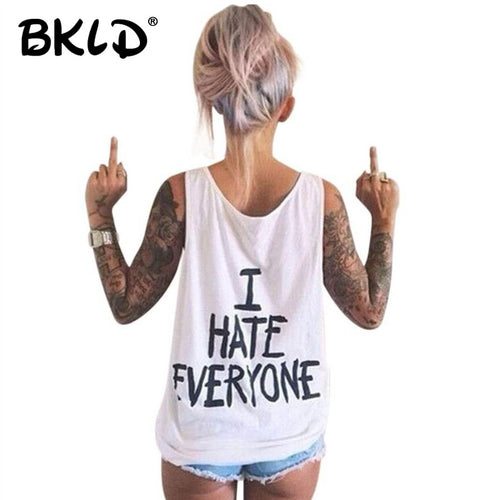 BKLD Harajuku Women T-Shirt I HATE EVERYONE TOPS Funny t shirt Women Sexy hip hop Streetwear tees Design Graphic Tee For Female - Classic Custom Tshirt