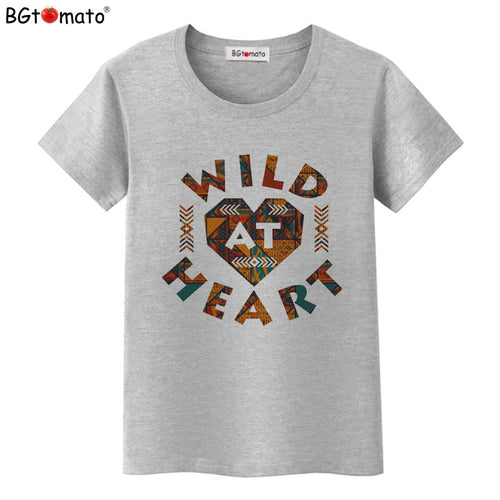 BGtomato T shirt Wild heart funny t shirts Creative design lovely tshirt women Brand good quality casual t-shirt female - Classic Custom Tshirt
