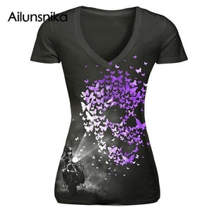 Ailunsnika 2018 Summer Women Sexy Fashion Casual Short Sleeve V Neck Skull Print T Shirt halloween costume Skeleton T-shirt Tops