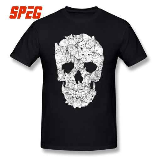 Cat Skull Design Horror Skull T Shirt Halloween Men Short Sleeve Men Terror T-Shirt Cotton High Quality Round Neck Tees Printing