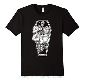 New 2018 Fashion T Shirt Men Floral Spooky Halloween Tshirt - Grave And Roses Occult Tee