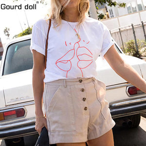 2018 Tumblr Lips T Shirt Women Summer O-Neck Casual Print Tops Women Cotton Short Sleeve Funny Tshirt Female Harajuku T-shirt - Classic Custom Tshirt