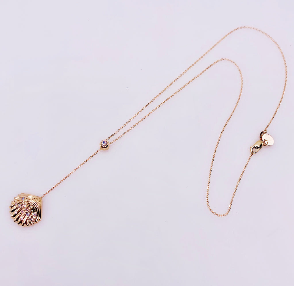Diamond Lariat Shell Necklace