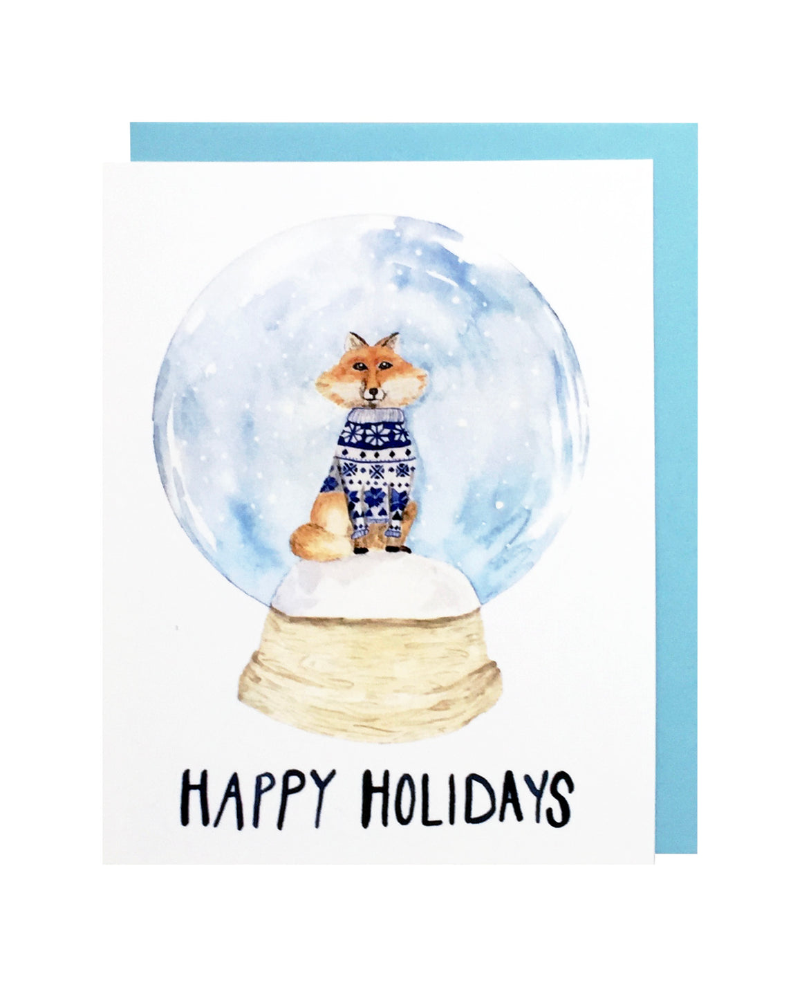 Fox Snow Globe Card